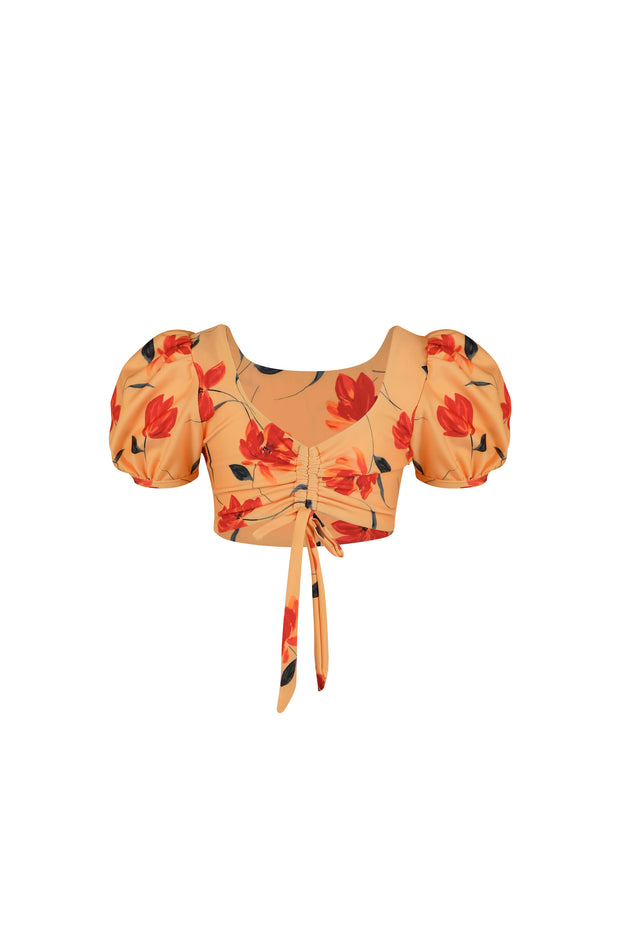 bambini top (peach rust floral)