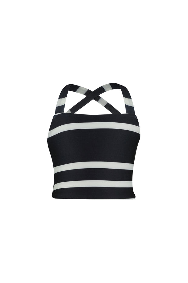 teeny tankini (black cream stripe)