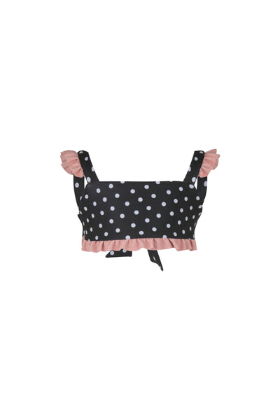 mini me top (black white polka dot/ribbed blush)