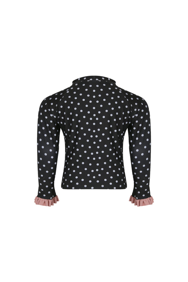ruffle rashguard (black white polka dot/ribbed blush)