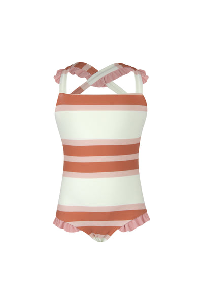 mini me one piece (cream camel blush stripe/ribbed blush)