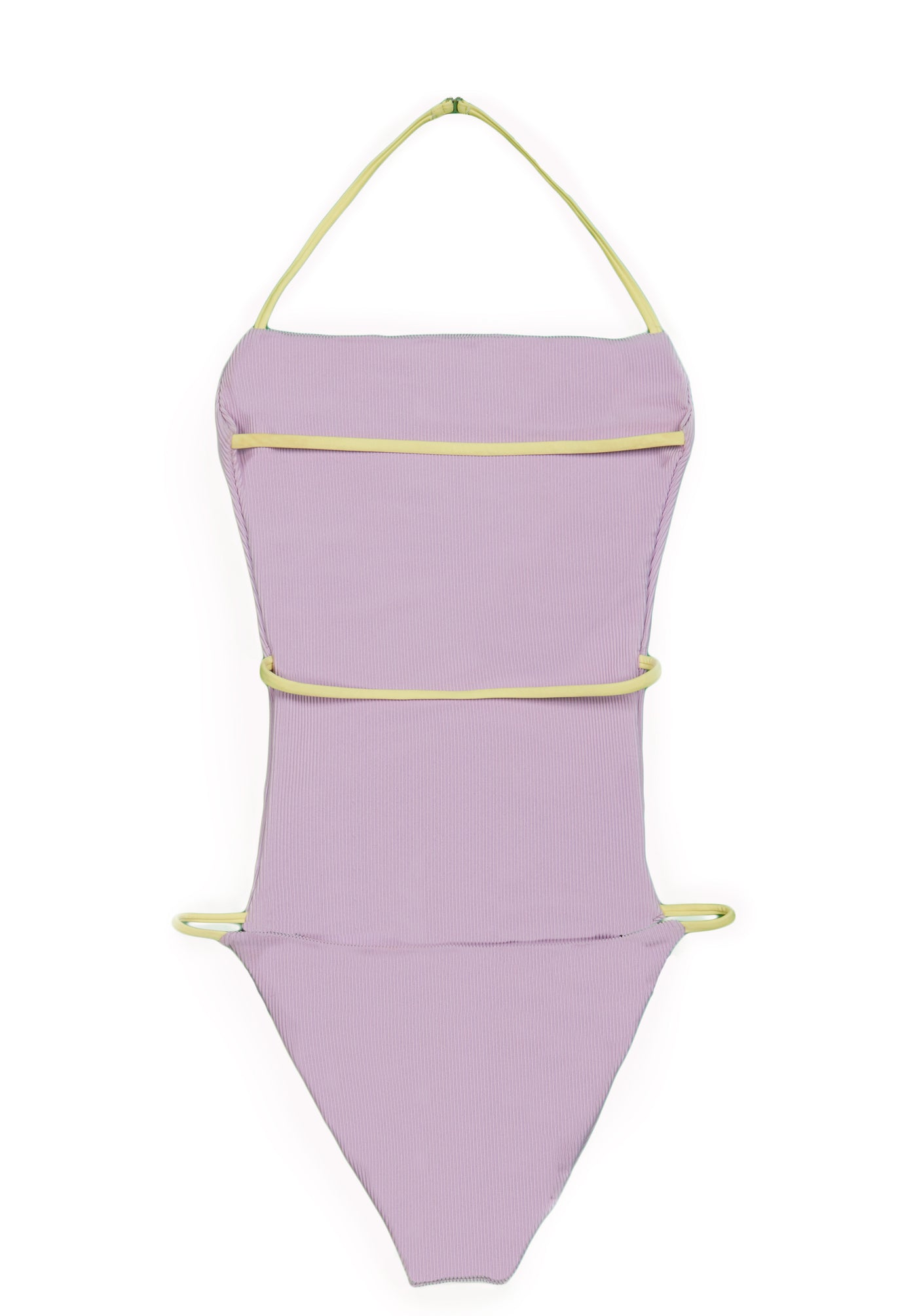 The Nina One Piece (Ribbed Lavender / Light Yellow Strap)