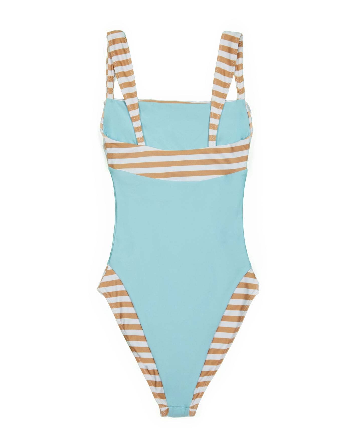 The Divine One Piece (Tan White Stripe/Blue)