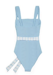 The Betty One Piece (Ribbed Baby Blue/Blue and White)