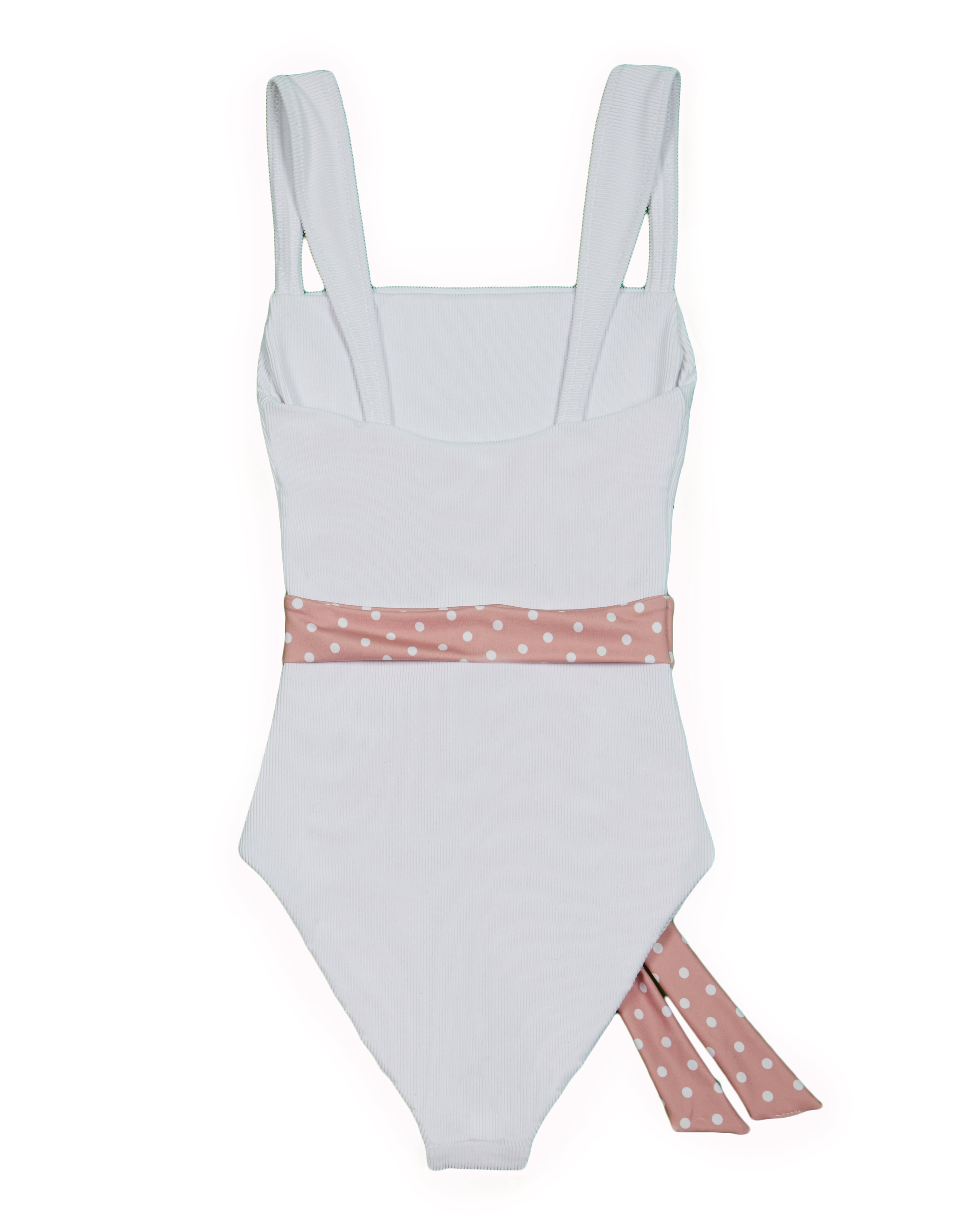 The Betty One Piece (Ribbed White/Blush and White Polka Dot Belt)