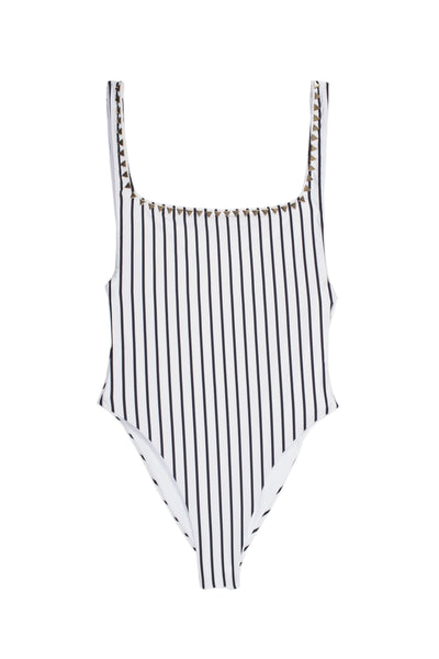 The Goddess One Piece (Stripe Blanc & Noir)