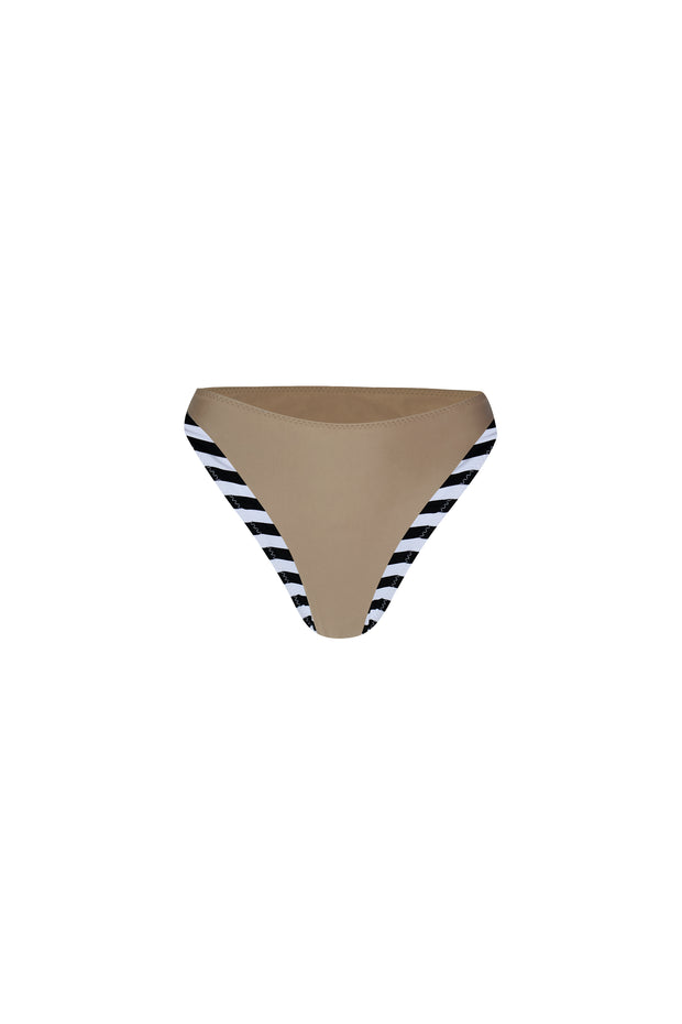 The Divine High Rise Bottom (Black White Stripe/Taupe)