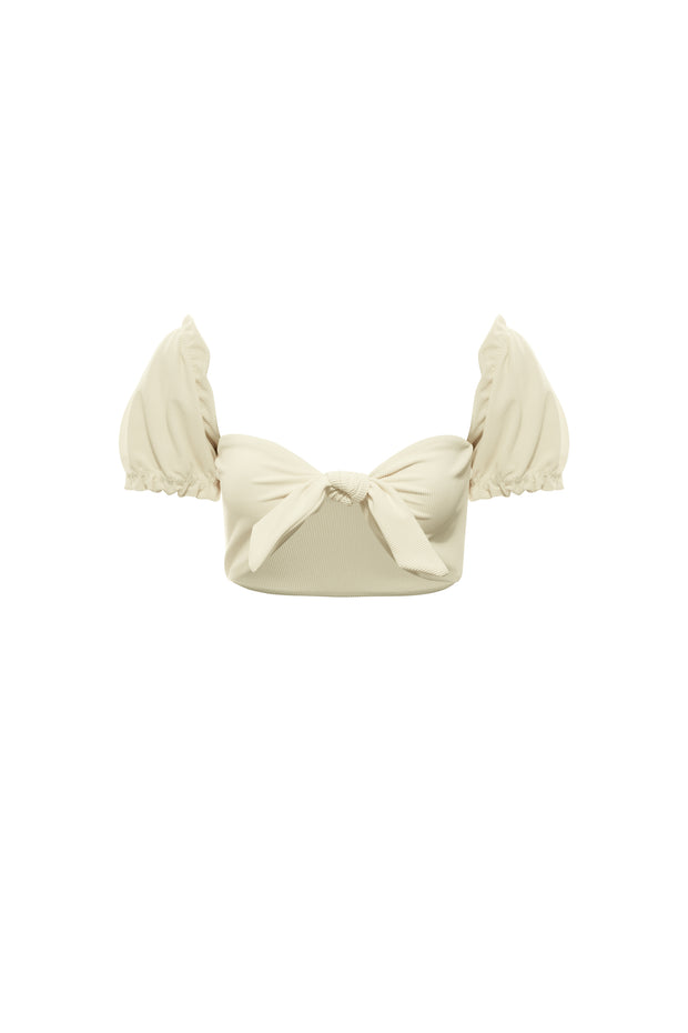 Ruffle Sleeve Top (Ribbed Cream)