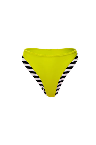The Divine High Rise Bottom (Black White Stripe/Lime)
