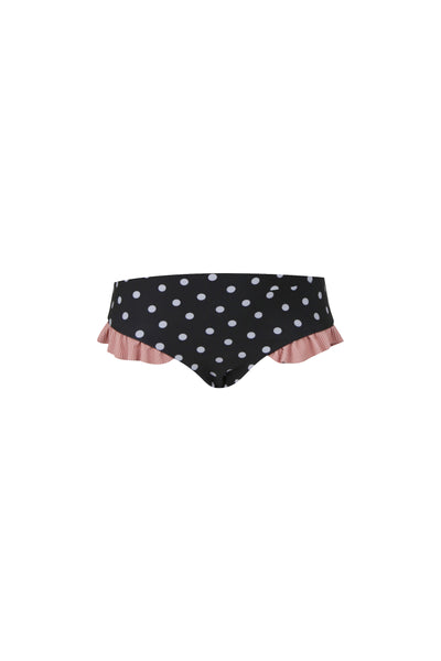 mini me bottom (black white polka dot/ribbed blush)