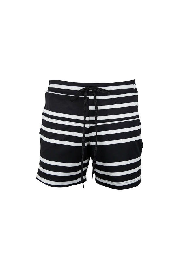"5"" Swim Trunks (Black Cream Stripe)"