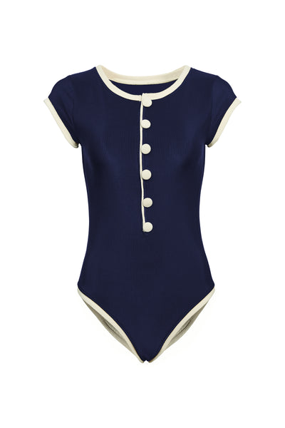 The Grace One Piece (Ribbed Navy/Cream)