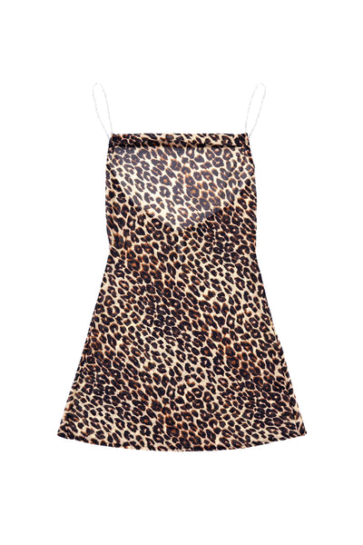 The Mini Crystal Slip Dress (Cheetah)