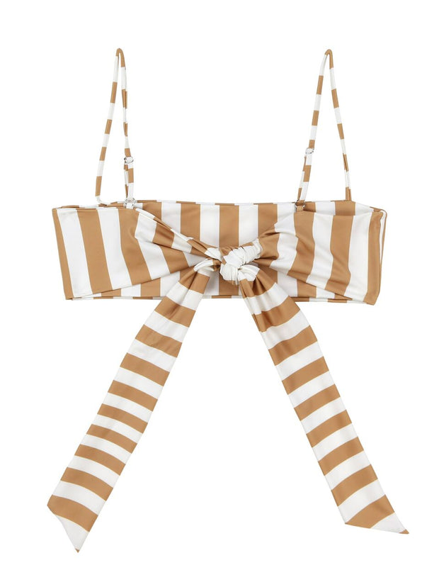 Bandeau Top (White/Nude Stripe)