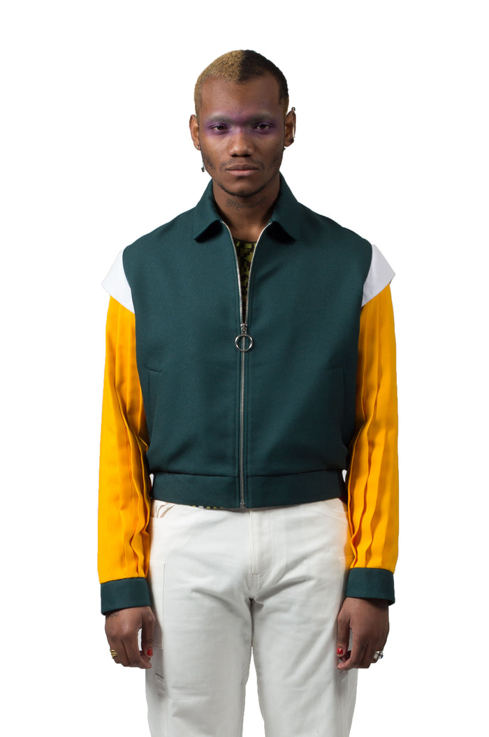 Pleated Sleeve Blouson Jacket