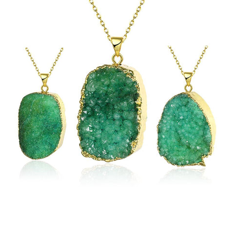 Emerald Geometric Natural Crystal Necklace - rubiquejewelry.com
