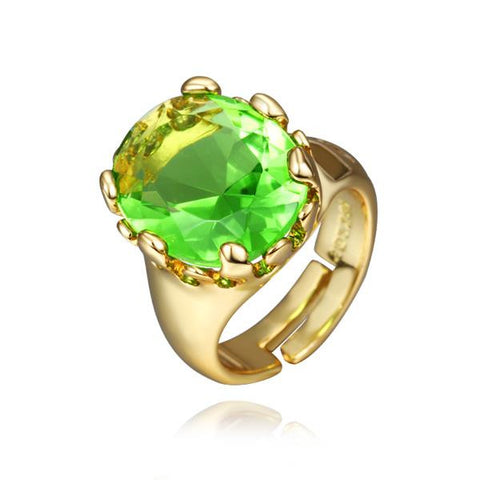 Gold Plated Emerald Center Classic Ring - rubiquejewelry.com