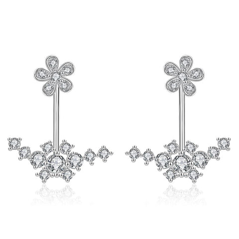 White Gold Plated Thin Lay Ear Jackets - rubiquejewelry.com
