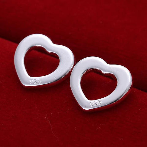Sterling Silver Heart Shaped Stud Earring - rubiquejewelry.com