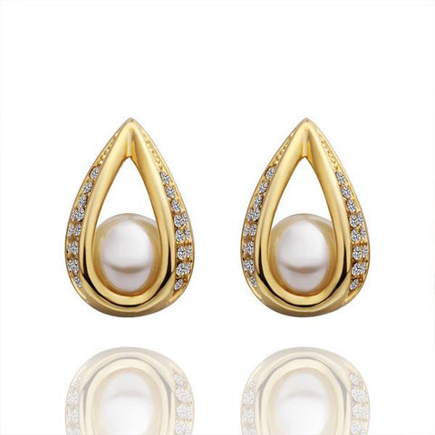 18K Gold Hollow Acorn With Pearl Earrings Made with Swarovksi Elements - rubiquejewelry.com