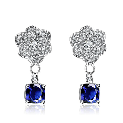 White Gold Plated Classic Saphire Gem Earrings - rubiquejewelry.com
