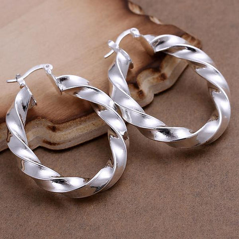 Sterling Silver Bended Angular Hoops - rubiquejewelry.com