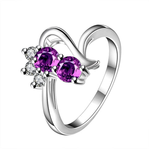 Duo-Purple Citrine Gem Curved Spiral Petite Ring - rubiquejewelry.com