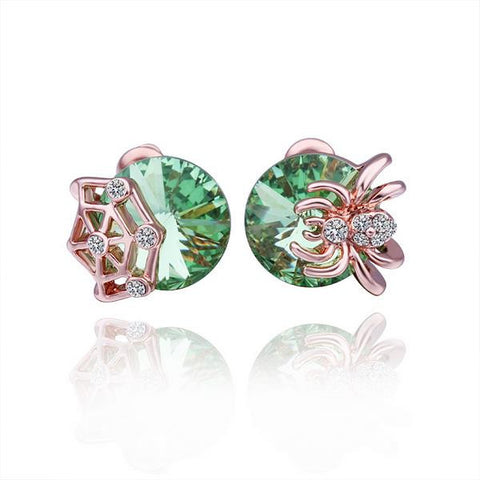 18K Rose Gold Large Emerald Stud Earrings Made with Swarovksi Elements - rubiquejewelry.com