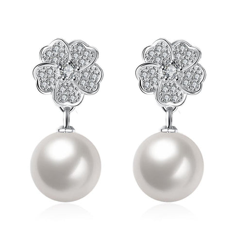 Cultured Pearl Cluster Clover Stud Earrings - rubiquejewelry.com