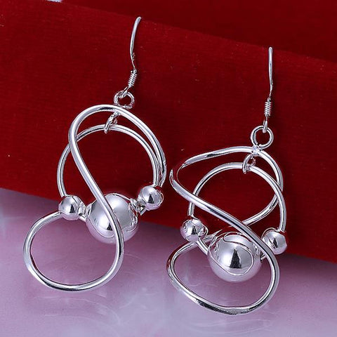 Sterling Silver Abstract Curved Circular Drop Earring - rubiquejewelry.com