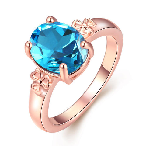 Rose Gold Plated Sapphire Flower Ring - rubiquejewelry.com