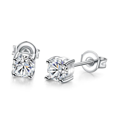 18K White Gold Plated Classic Simulated Diamond - rubiquejewelry.com