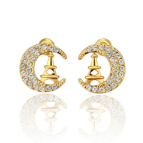 18K Gold Night In Paris Studs Made with Swarovksi Elements - rubiquejewelry.com