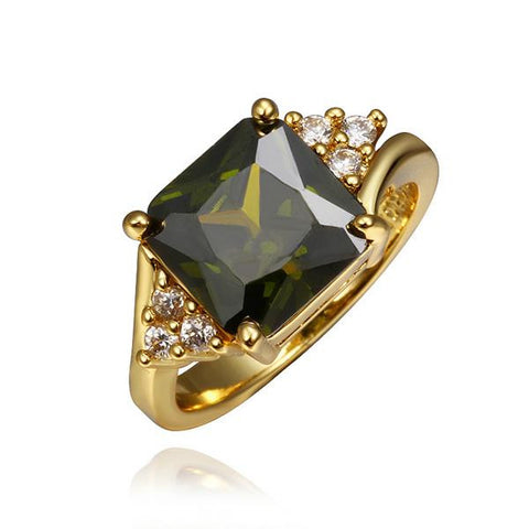 Gold Plated Emerald Center Ring - rubiquejewelry.com