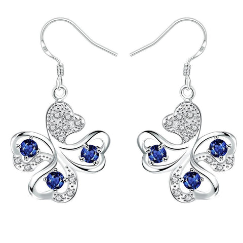 Mock Sapphire Clover Shaped Drop Earrings from rubiquejewelry.com