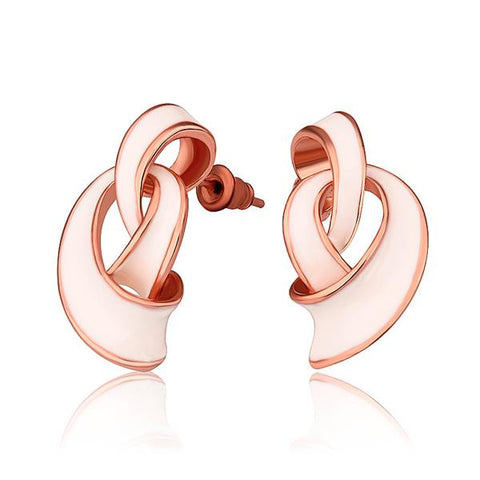 18K Rose Gold Abstract Intertwined Ivory Drop Down Earrings Made with Swarovksi Elements - rubiquejewelry.com