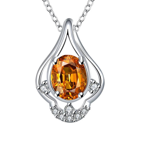 Petite Orange Citrine Triangular Curved Drop Necklace - rubiquejewelry.com