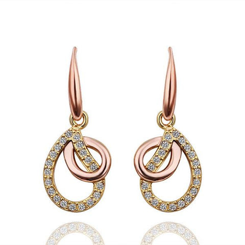 18K Gold Drop Down Earrings with Pav'e Finish Made with Swarovksi Elements - rubiquejewelry.com
