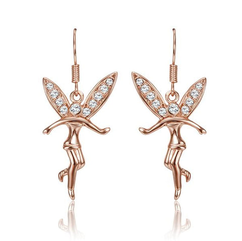 18K Rose Gold Flying Angels Dangling Earrings Made with Swarovksi Elements - rubiquejewelry.com