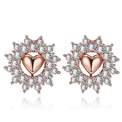 Rose Gold Plated Floral Petal Jewels Covered Studs - rubiquejewelry.com