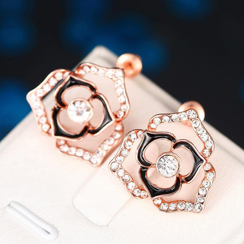18K Rose Gold Hollow Floral Earrings Made with Swarovksi Elements - rubiquejewelry.com