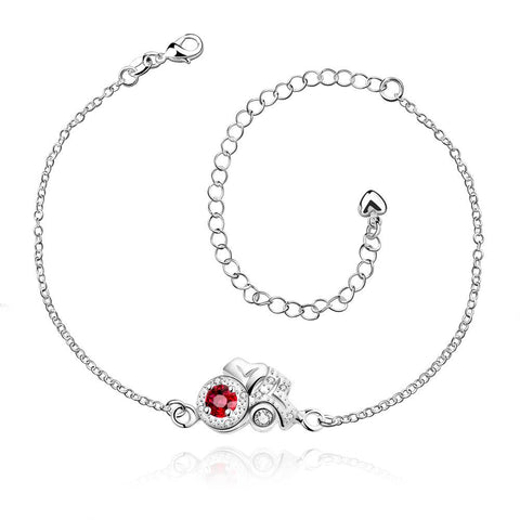 Ruby Red Blossoming Gem Petite Anklet - rubiquejewelry.com