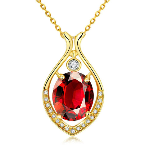 Gold Plated Classic New York Ruby Necklace - rubiquejewelry.com
