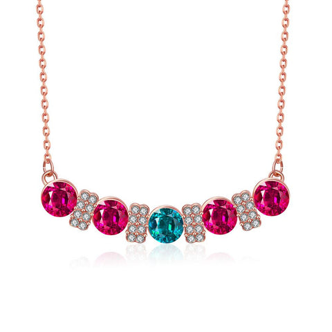 18K Rose Gold Plated Multi-Gem Bar Necklace - rubiquejewelry.com