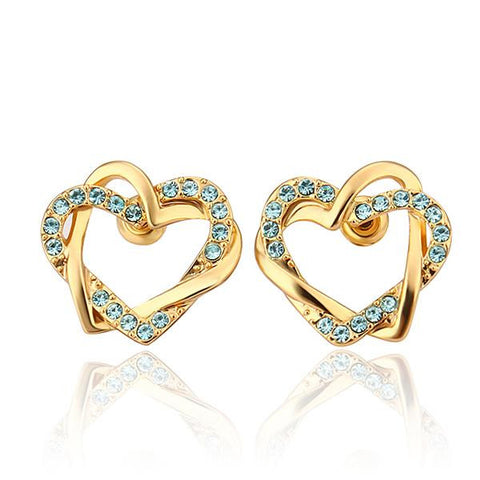 18K Gold Saphire Covered Hollow Hearts Stud Earrings Made with Swarovksi Elements - rubiquejewelry.com