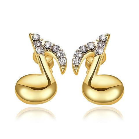 18K Gold Musical Note Stud Earrings Made with Swarovksi Elements - rubiquejewelry.com