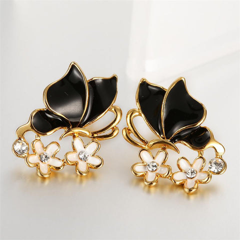 18K Gold Onyx Wings Stud Earrings Made with Swarovksi Elements - rubiquejewelry.com