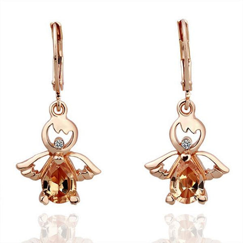 18K Rose Gold Baby Angel Earrings Made with Swarovksi Elements - rubiquejewelry.com