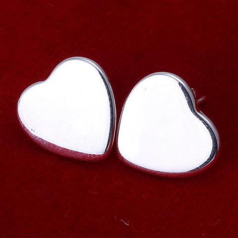 Sterling Silver Clean Cut Heart Shaped Studs - rubiquejewelry.com