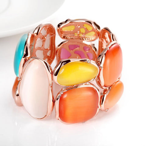 18K Rose Gold Bangle with Ivory & Saphire Gems with Swarovski Elements - rubiquejewelry.com